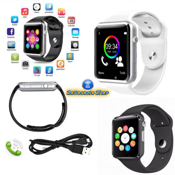 SMARTWATCH A1 OROLOGIO TELEFONO SIM BLUETOOTH MICRO SD CAMERA MP3 IOS E ANDROID