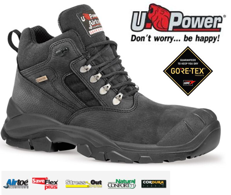 386be03305b8bb MENS U-POWER WATERPROOF GORE-TEX STEEL TOE CAP LEATHER SAFETY WORK S3 BOOTS  SIZE