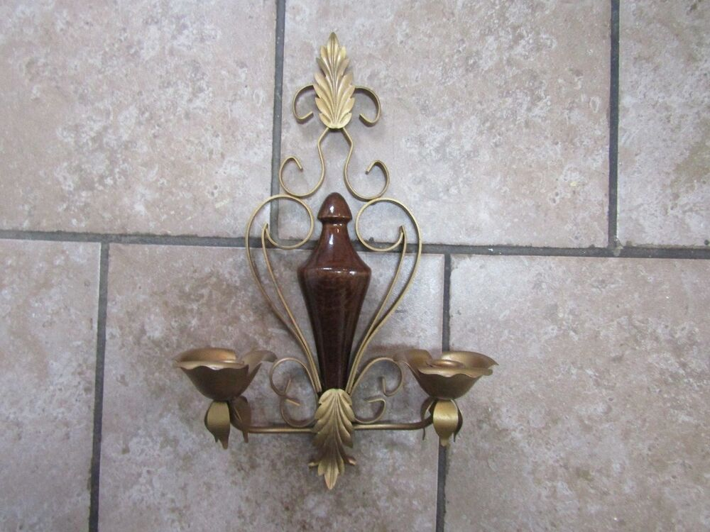 Vintage Double Candle Holder Wall Sconce Wood Gold/Brass