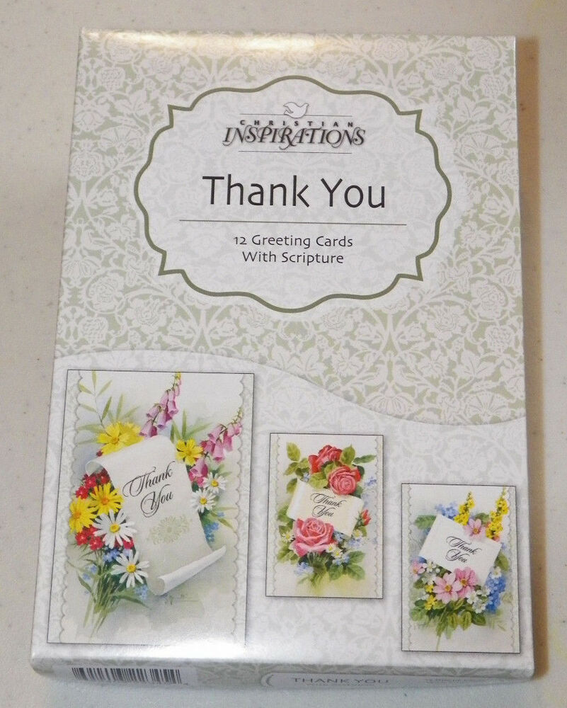 Box 12 Christian Thank You Diecut Greeting Cards With Bible