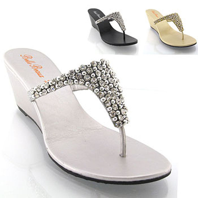 6ff6ea748399 Details about New Womens Wedge Diamante Toe Post Ladies Sparkly Dressy  Party Sandals Size 3-8