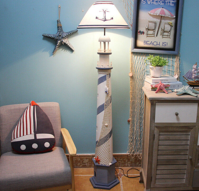 Kids Room Floor Lamp: LED Lighthouse Bedroom Bedside Wood Kids Room Living Room