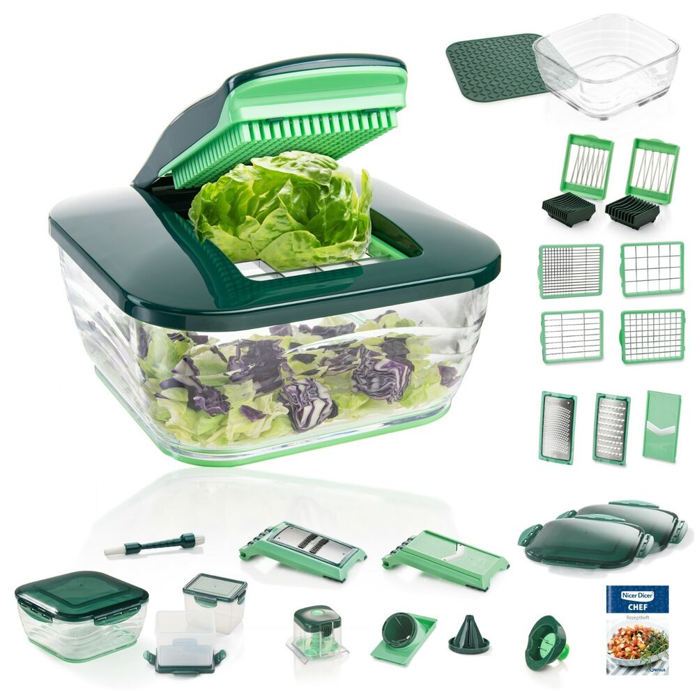 genius nicer dicer chef deluxe set 34 teile obst gem seschneider ebay. Black Bedroom Furniture Sets. Home Design Ideas