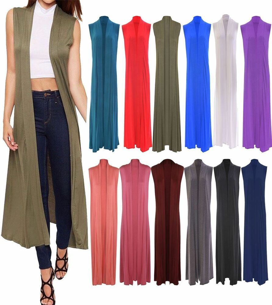 2db243b5e8012 Details about Ladies Open Front Collared Long Maxi Waistcoat Womens Sleeveless  Summer Cardigan