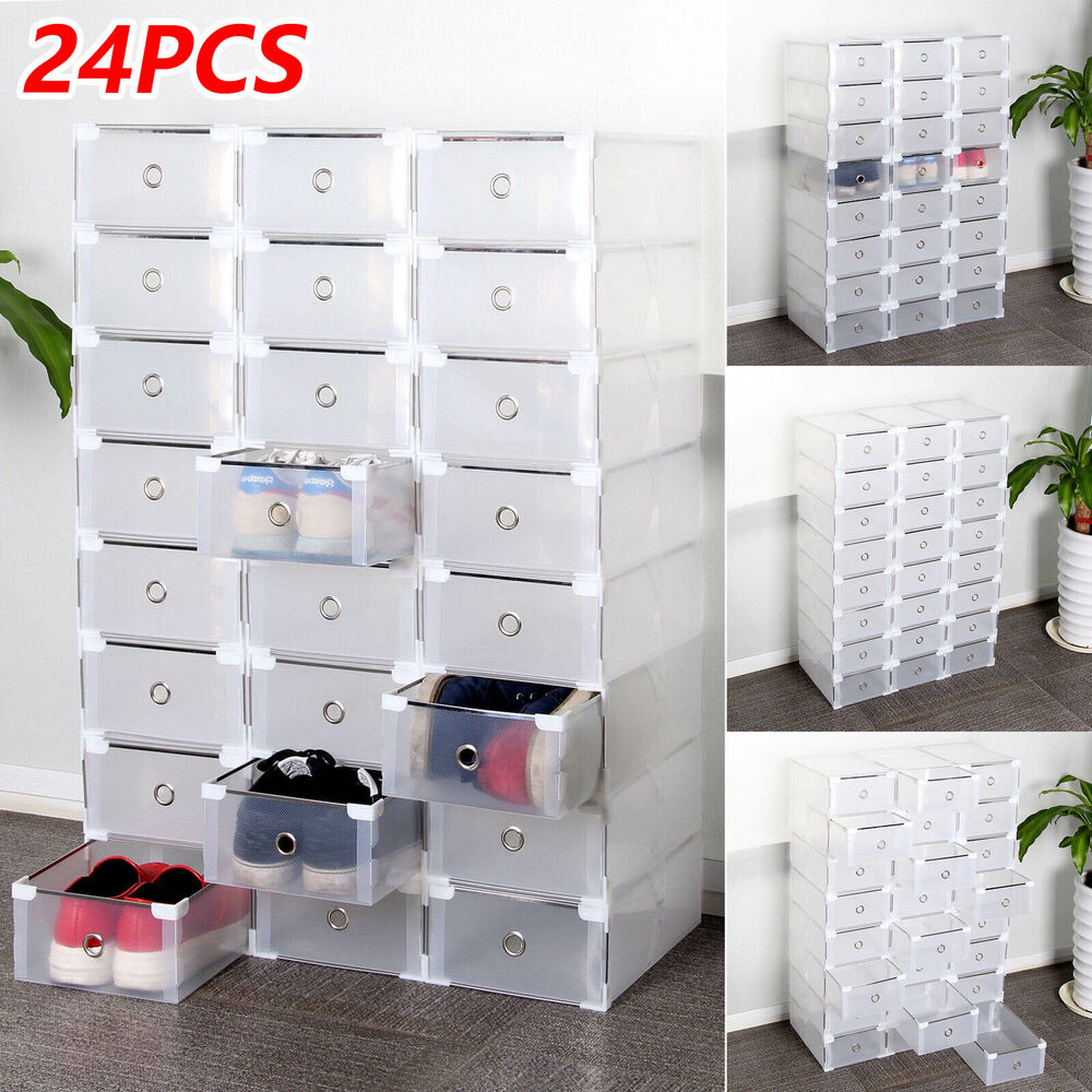 shoe box storage 24 foldable clear plastic shoe box drawer stackable home 12928