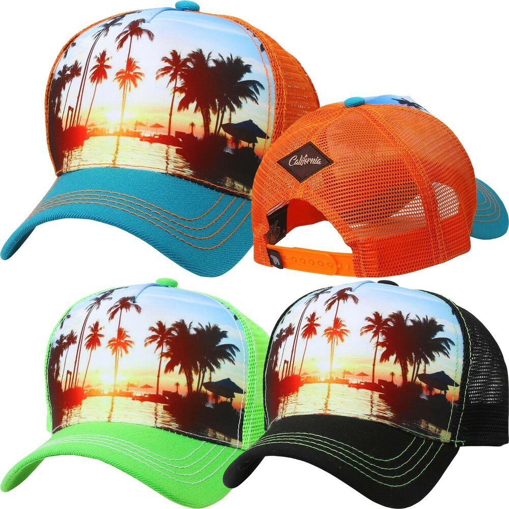 Details about TRUCKER HAT PALM TREE Baseball Cap Cali Beach Adjustable Mesh  Snapback Ocean 034c3219232