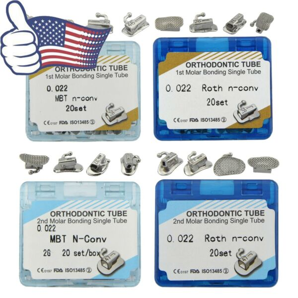 80pcs Dental Orthodontic Buccal Tubes 1st 2nd Molar Non Convertible MBT Roth 022