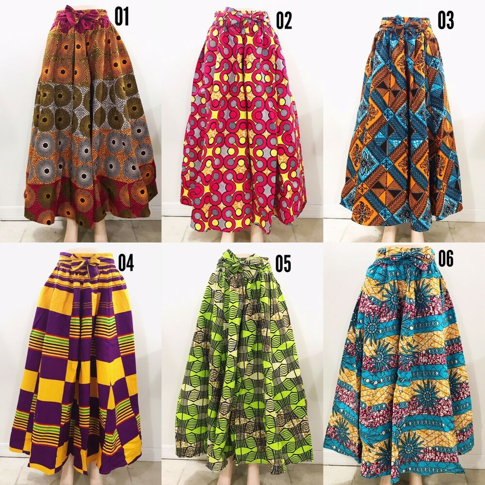 6e5d894f9a3539 Details about Women's Printed African Maxi Skirt WITH POCKETS One Size +  HEAD WRAP