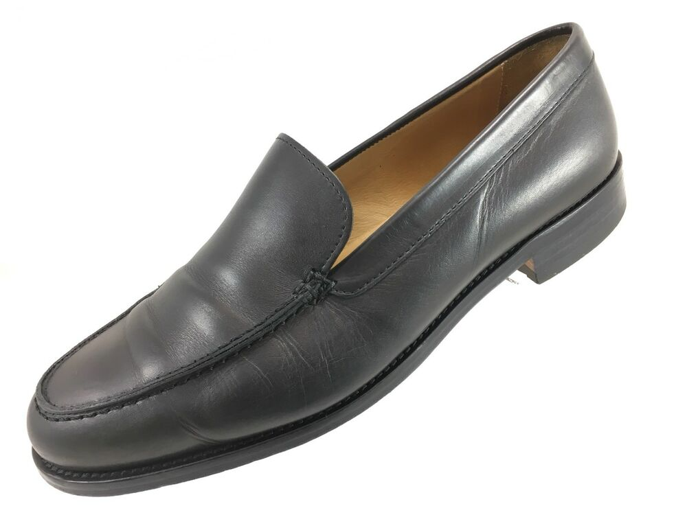SH22 Polo Ralph Lauren 10D Italy Made Black Leather Loafer Shoes Apron Toe