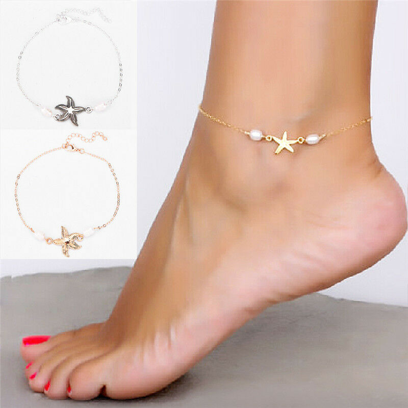 Anklet Ankle Bracelet Silver Plated Chain With Heart Charms Uk Seller Ture 100% Guarantee Anklets