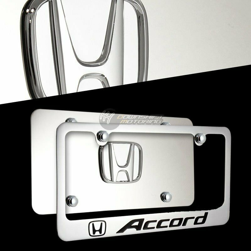Honda Accord License Plate Frame: Chrome Honda ACCORD Front + Rear Mirror Stainless Steel