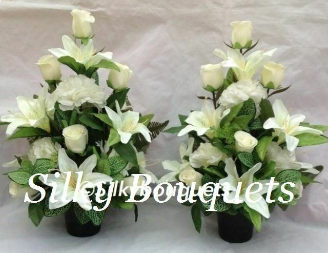 Artificial Silk Grave Pot False Flowers Flat Back White Luxury Pair ...