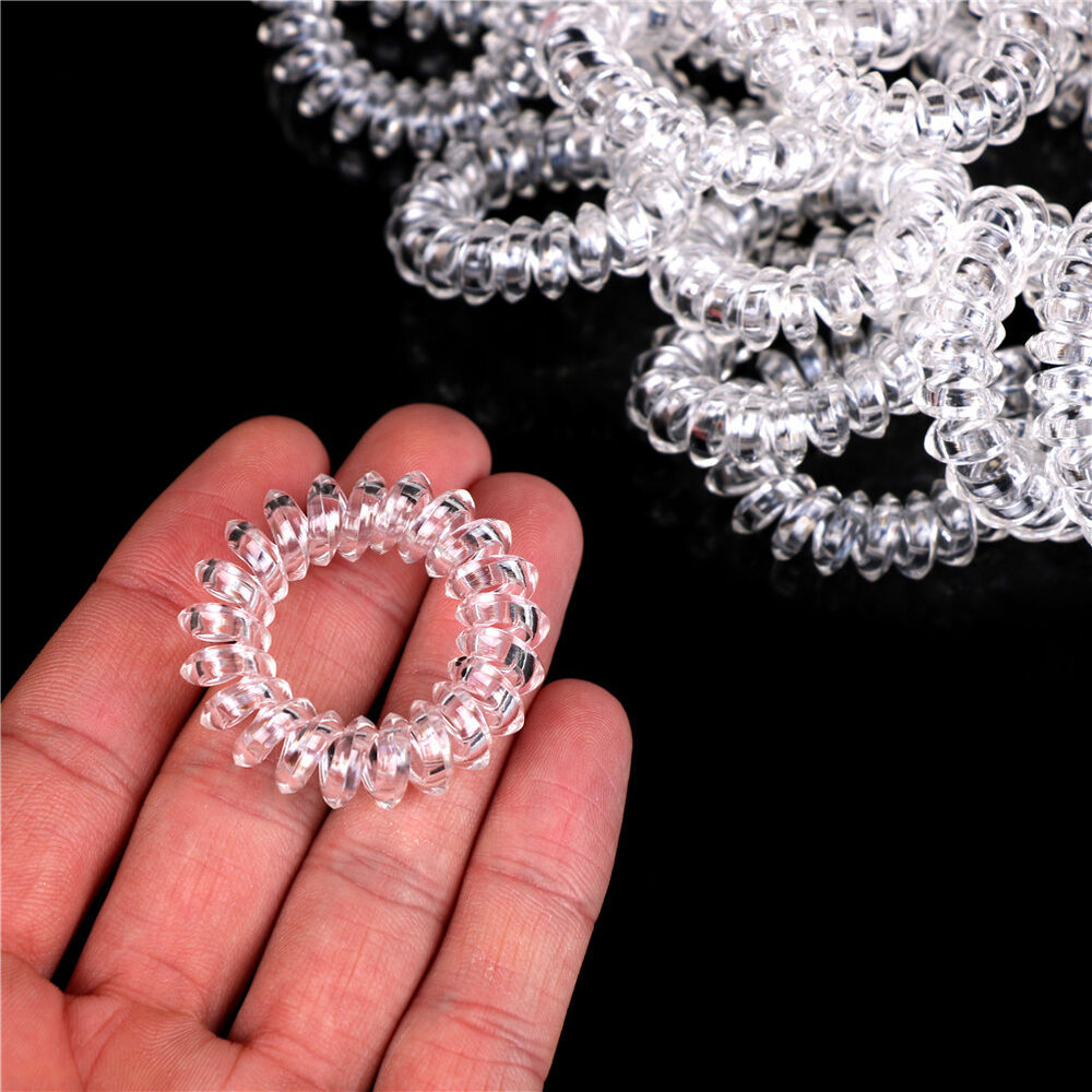 Details about 10Pcs Clear Elastic Telephone Line Wire Hair Bands Ropes  Holders HeadAccessory 4214eb4b60a