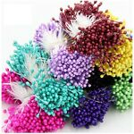 280pcs/set Mini Resin Double Heads Artificial Flower Stamen Sugar Craft Blue Hot