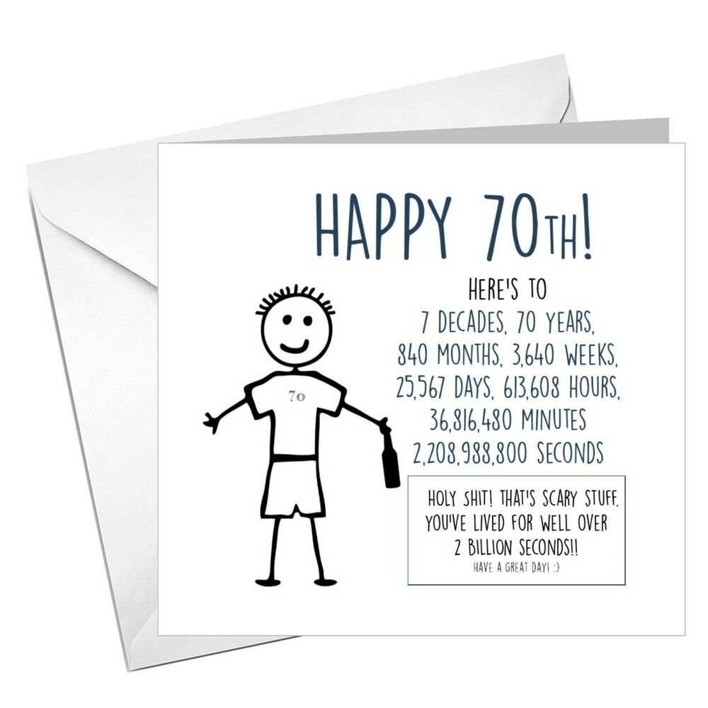 Details About Funny Rude Alternative Sarcastic 70th BIRTHDAY Card For Him Friend Uncle