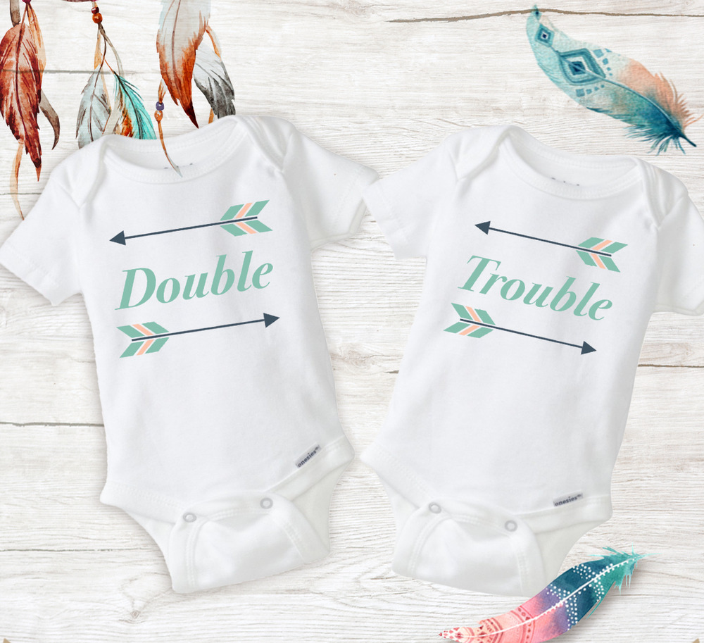 e7dea215c65 Details about double trouble twin best friend outfits baby girls unisex twins  onesies newborn jpg 1000x913
