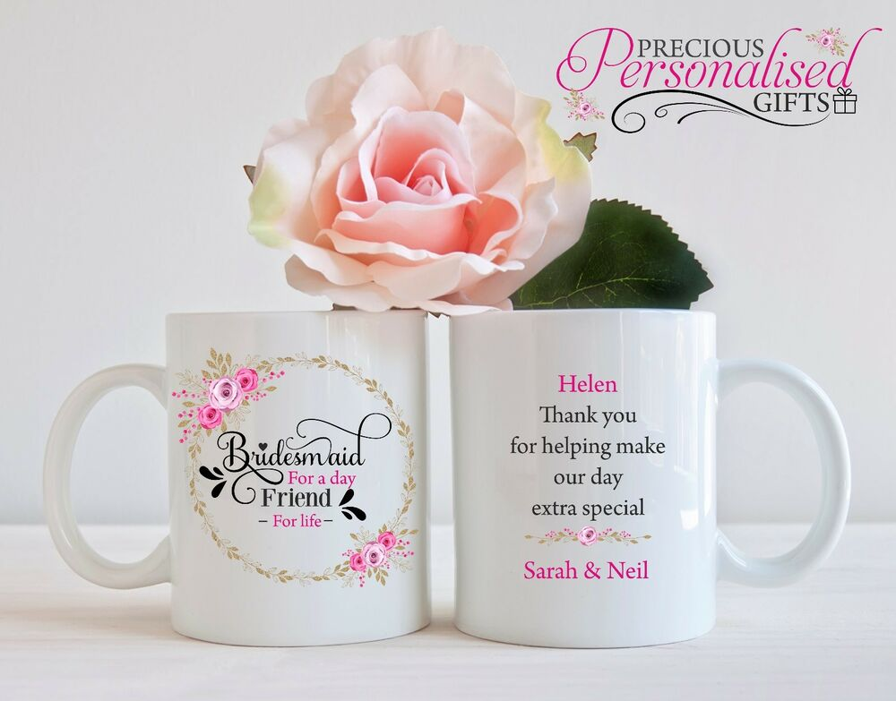 Personalised Mug Cup Bridesmaid Friend Wedding Gift Thank You Favour