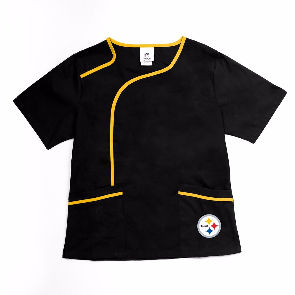 22167436c68 Details about Pittsburgh Steelers NFL Scrubz Womens Mock Medical Wrap Scrub  Solid Top-Size S
