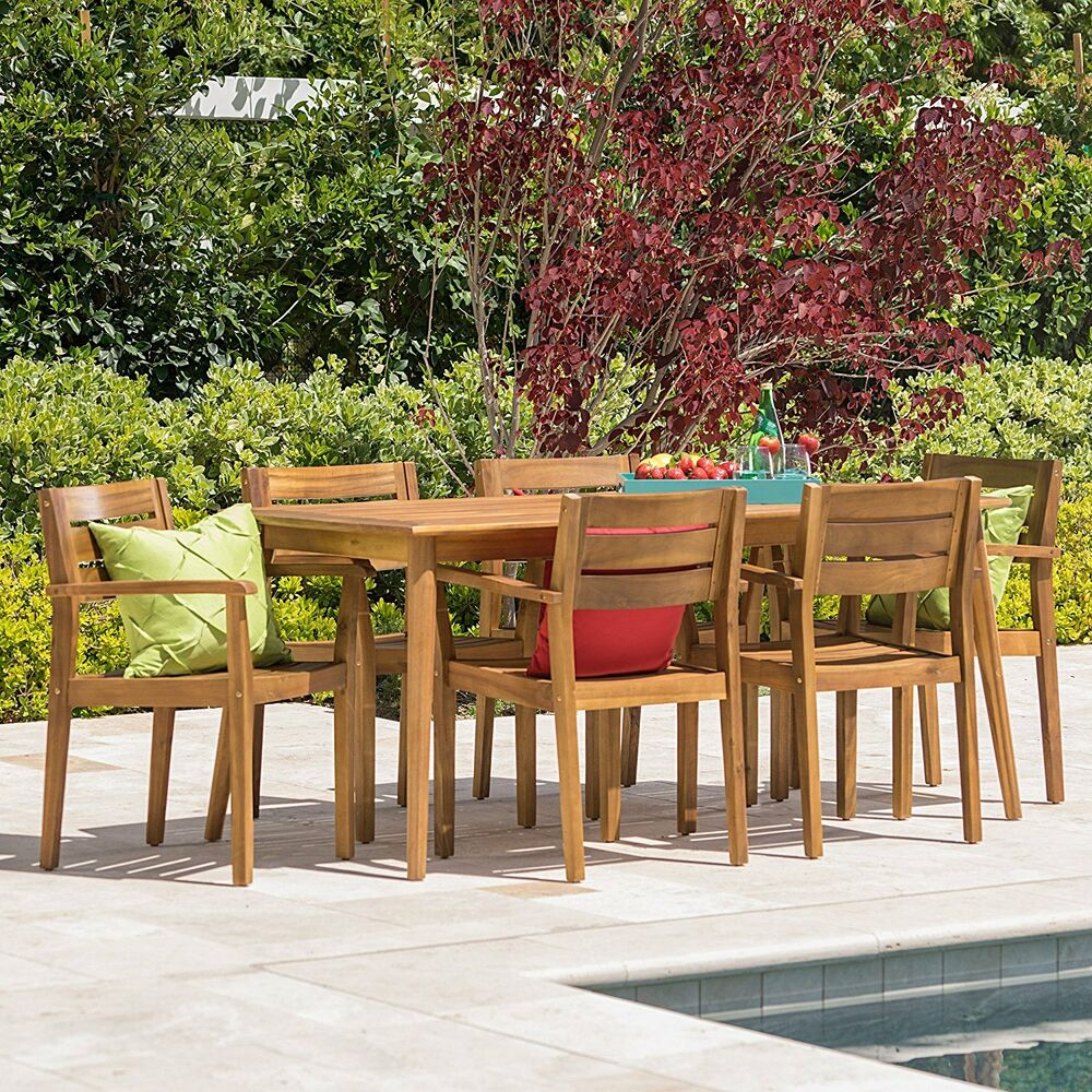 Details About 7 Piece Acacia Wood Outdoor Bbq Deck Dining Set Patio Furniture Table Chairs New