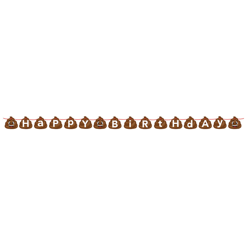 Details About Emoji Poop Character Happy Birthday Shaped Ribbon Banner Party Emoticon Smiling