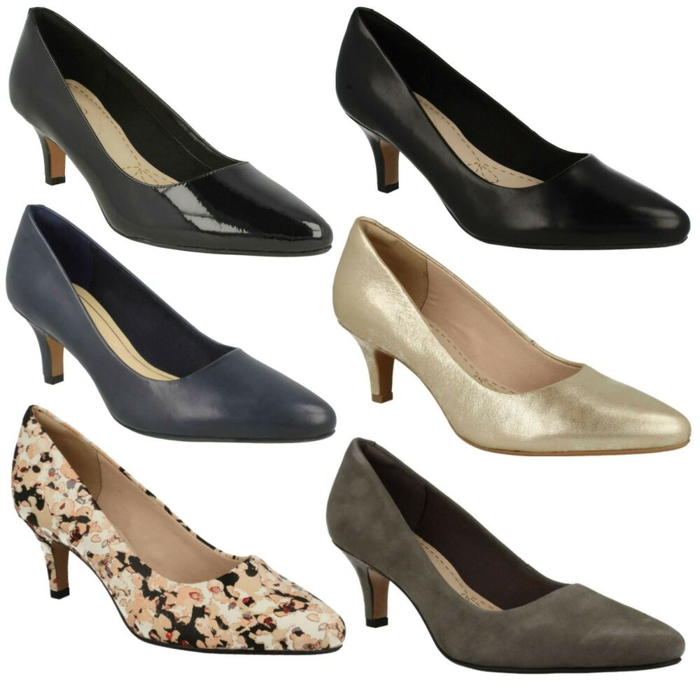 bea87689606e Details about ISIDORA FAYE LADIES CLARKS LEATHER STILETTO HEEL SLIP ON  SMART COURT SHOES SIZE