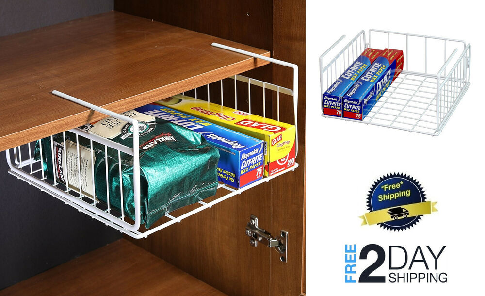 Under Shelf Basket Drawer Storage Organizer White Sliding