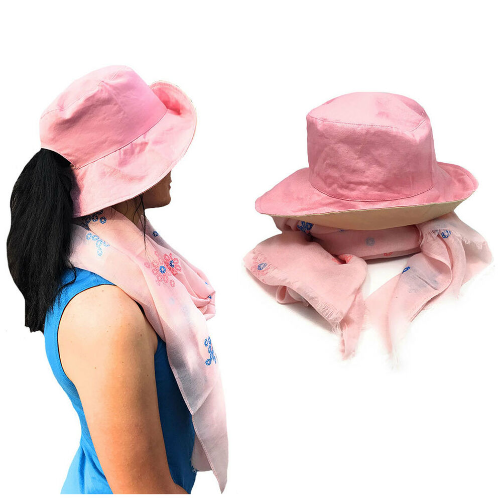 4b5510740ea Details about Floral Sheer Scarf and Ponytail Sun Hat Gift Set For Women  Wife Mom Girlfriend