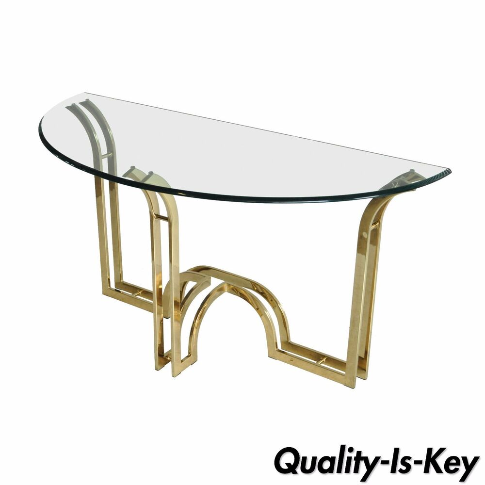 Vintage Hollywood Regency Sculptural Brass Glass Console Hall Sofa