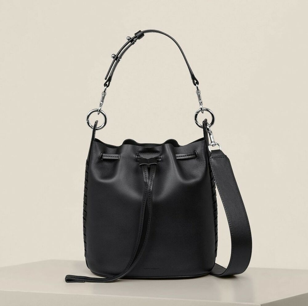 5fb813020989 Details about AllSaints Ray Small Bucket Bag in Black  (Shoulder Mini Ladies Womens Leather) BN