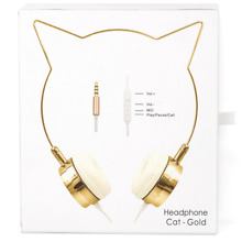 Lux Accessories Gold Cat Ear Headphones Wire Frame Headset w Microphone