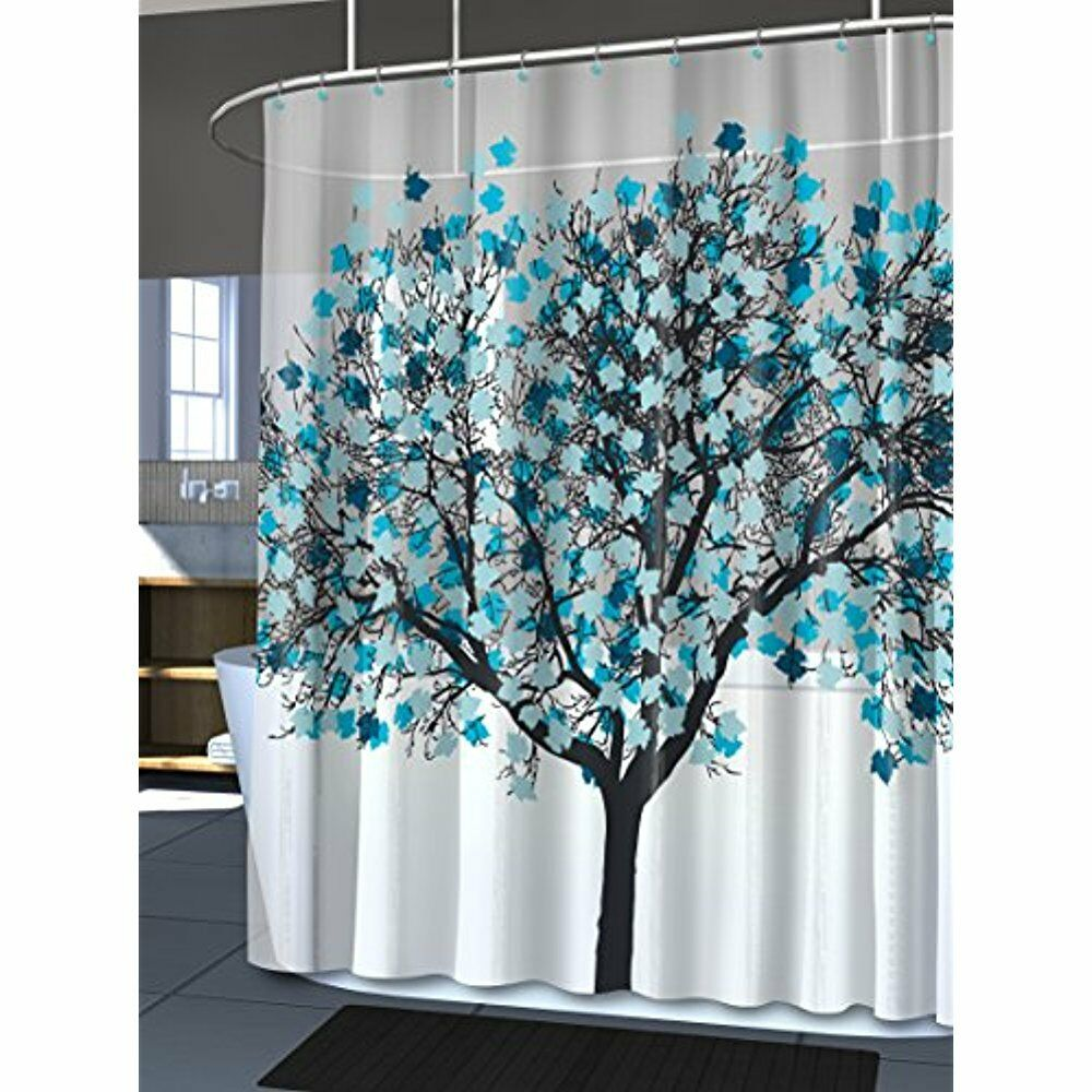 Unique blue tree bathroom eva shower curtain waterproof - Bathroom shower curtains and accessories ...