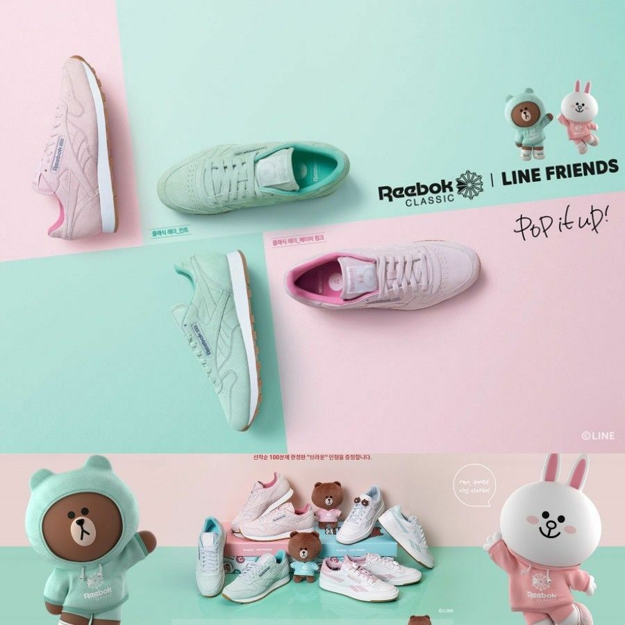 3d05641540e4 Line Friends x Reebok Classic Leather Shoes Athletic CN8420 Green SZ4-13  Limited.   Limited quantity  . black