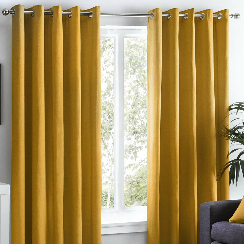 Pair 100 Cotton Plain Lined Eyelet Ring Curtains Ochre