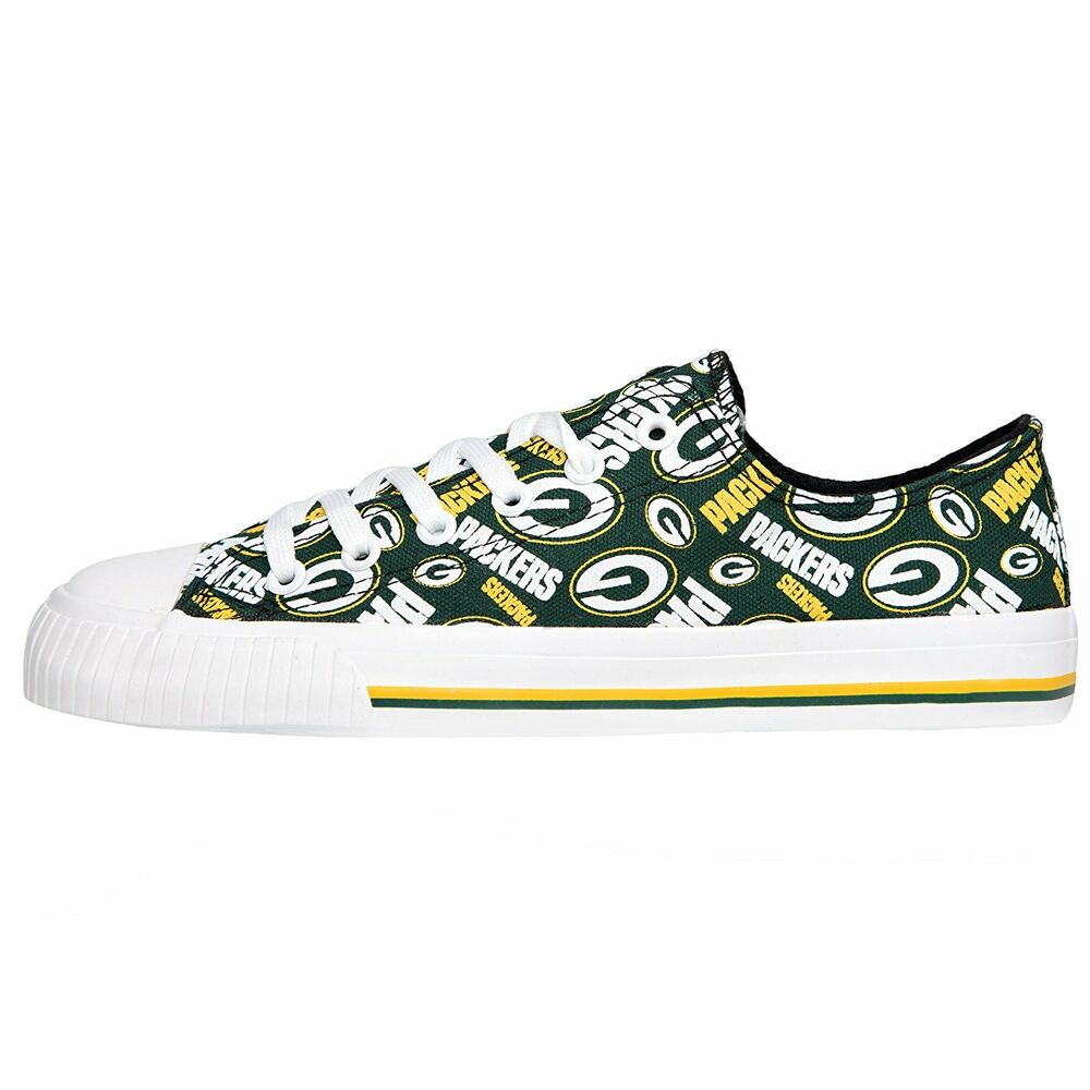 798cace0 Green Bay Packers NFL Womens Low Top Repeat Print Canvas Shoes | eBay