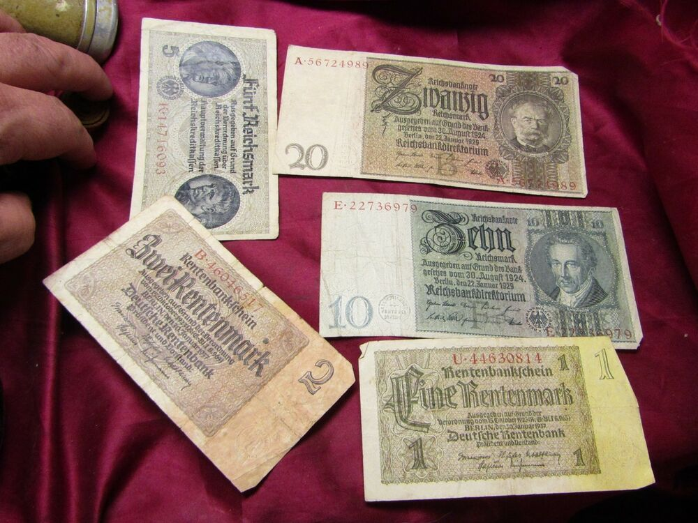 Details About Wwii German Paper Money Collection 1 2 5 10 And 20 Reichsmarks Great