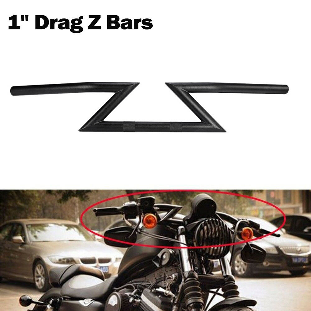 Black Drag Handlebars 1 Z Bar For Harley Chopper Bobber Softail