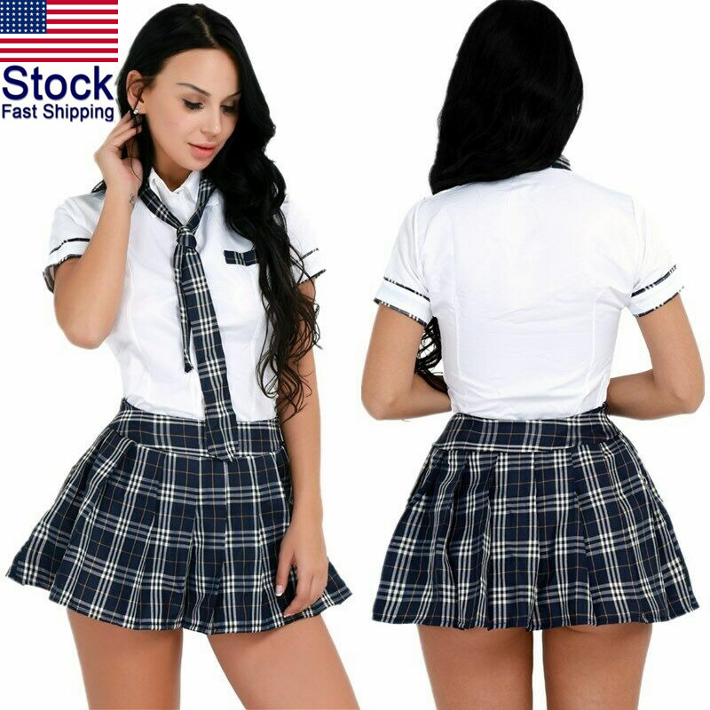 Womens Sexy Lingerie School Girl Uniform Cosplay Costume -1307