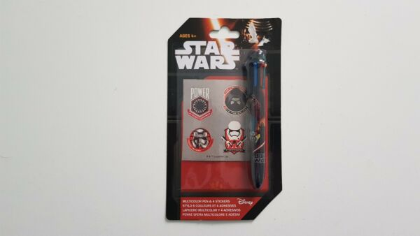 Stylos Multi-couleur + 4 Stickers autocollant Star Wars NEUF