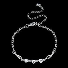 Womens 925 Sterling Silver Love Heart Link Chain Foot Ankle Bracelet #AB02