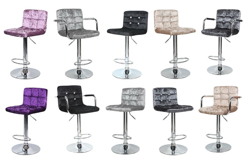 Crushed Velvet Bar Stool Leather Swivel Foot Rest Chair