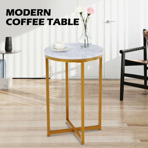Modern White Marble Coffee Table Gold Metal Frame Living Room Home Furniture