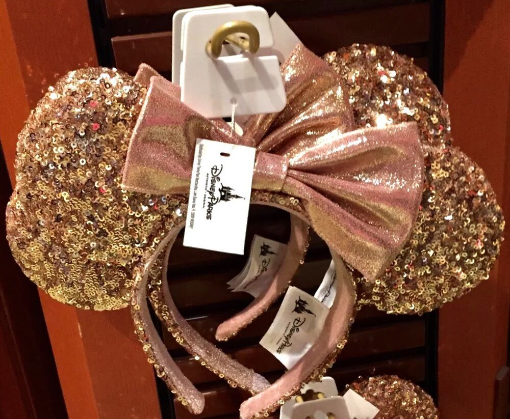 new disney parks rose gold minnie mouse bow sequins ear headband ebay. Black Bedroom Furniture Sets. Home Design Ideas