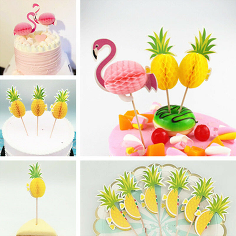 20Pcs Flamingo Pineapple Cake Topper Party Fruit Decoration Sticks Picks