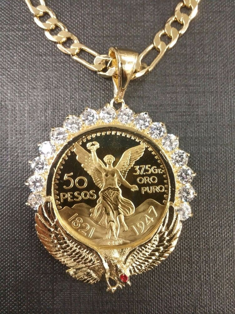 Centenario Coin Gold Plated With Eagle Bezel With Stones And Figaro Chain Ebay