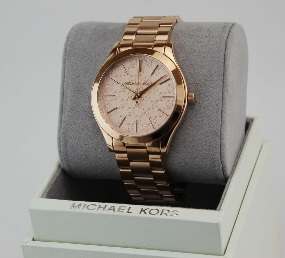 db16ee801205 NEW AUTHENTIC MICHAEL KORS SLIM RUNWAY ROSE GOLD MONOGRAM WOMEN S MK3336  WATCH 796483124349