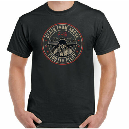 img-F-16 T-Shirt Pilot Death From Above Mens Fighter Jet Plane US Royal Air Force