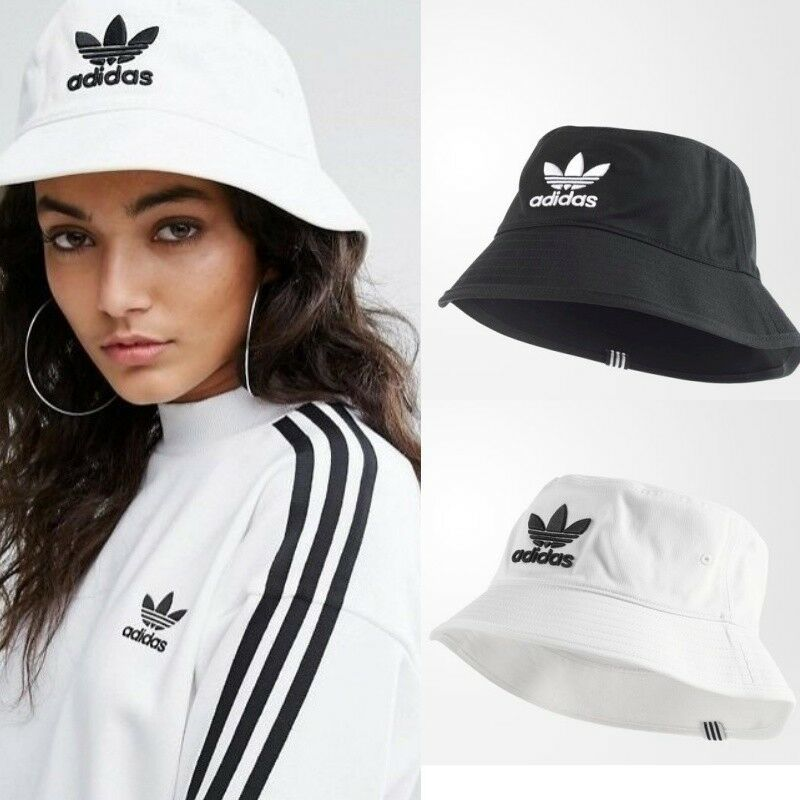 eaac17f4769 ADIDAS Originals Bucket Hat Cap White Black OSFC OSFY OSFW OSFM OSFL  BK7350. black. OSFC  One size ...