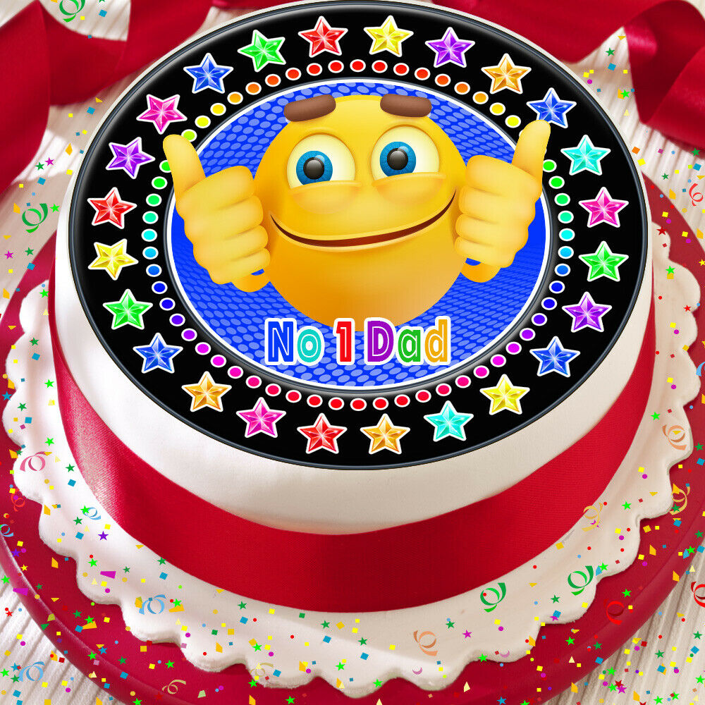 Details About FATHERS DAY EMOJI NO 1 DAD BLACK EDIBLE BIRTHDAY CAKE TOPPER DECORATION KPFD9