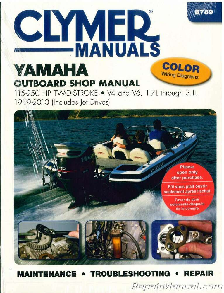 clymer yamaha 115 250 hp two stroke outboards 1999 2010 boat repair rh ebay com