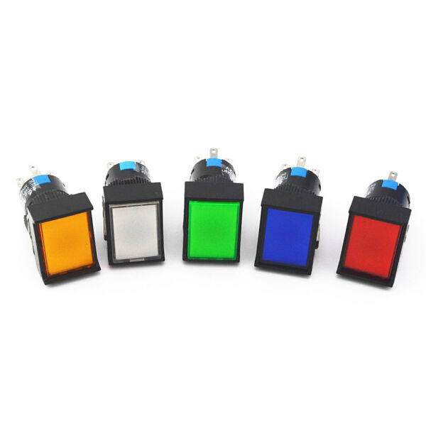 1Pcs 16mm Rectangle Momentary Push Button Switch Maintain LED Lamp 5 Pins